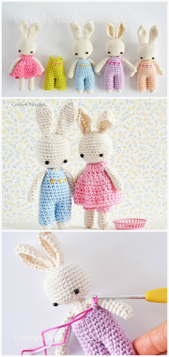 Baby Bunny Overall Crochet Free Pattern - Crochet #Bunny; Toy #Amigurumi; Free Patterns