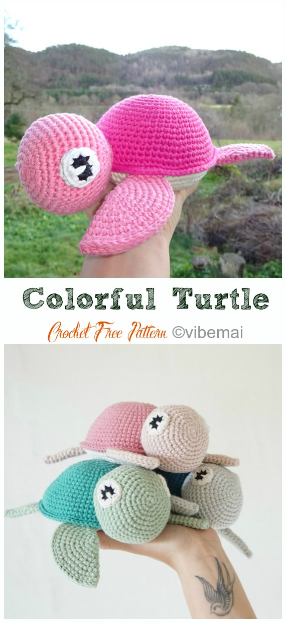 Amigurumi TColorful Turtle Crochet Free Pattern - #Crochet; #Turtle; Amigurumi Toy Softies Free Patterns