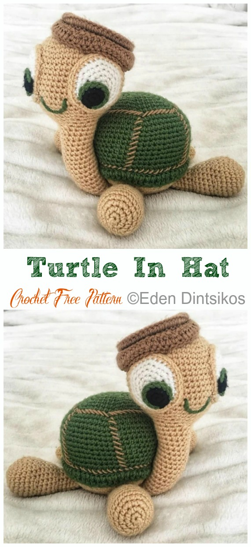 Amigurumi Turtle in Hat Crochet Free Pattern - #Crochet; #Turtle; Amigurumi Toy Softies Free Patterns