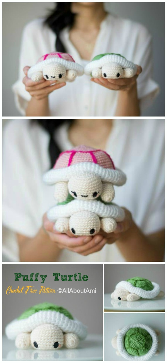 Amigurumi Puffy Turtle Crochet Free Pattern - #Crochet; #Turtle; Amigurumi Toy Softies Free Patterns