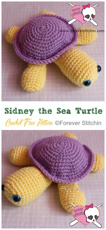Amigurumi Sidney the Sea Turtle Crochet Free Pattern - #Crochet; #Turtle; Amigurumi Toy Softies Free Patterns