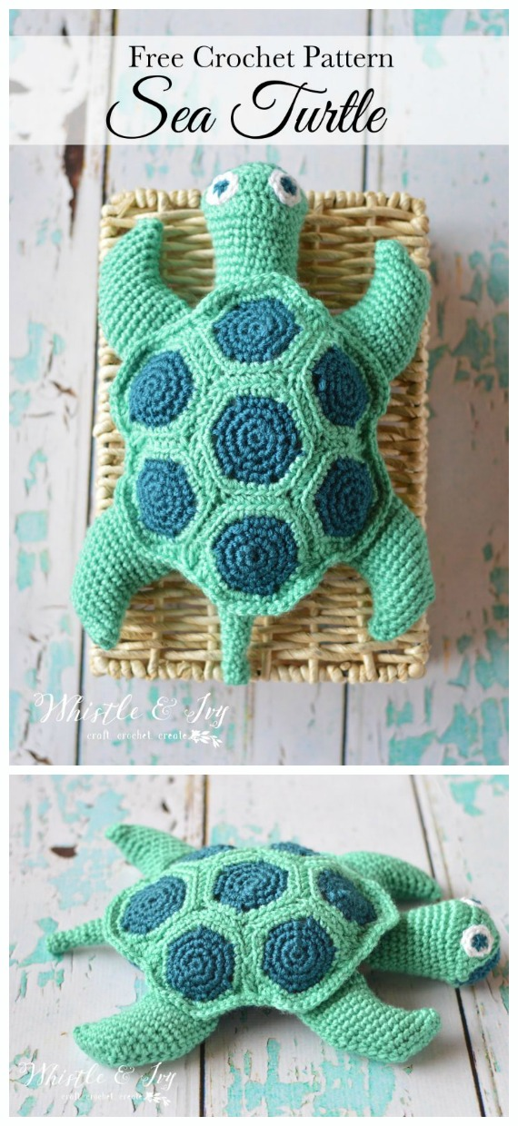 Amigurumi Sea Turtle Crochet Free Pattern - #Crochet; #Turtle; Amigurumi Toy Softies Free Patterns