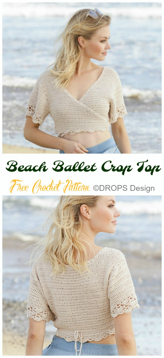 Beach Ballet Crop Top Crochet Free Pattern - Women #CropTop; Free #Crochet; Patterns [Summer Edition]