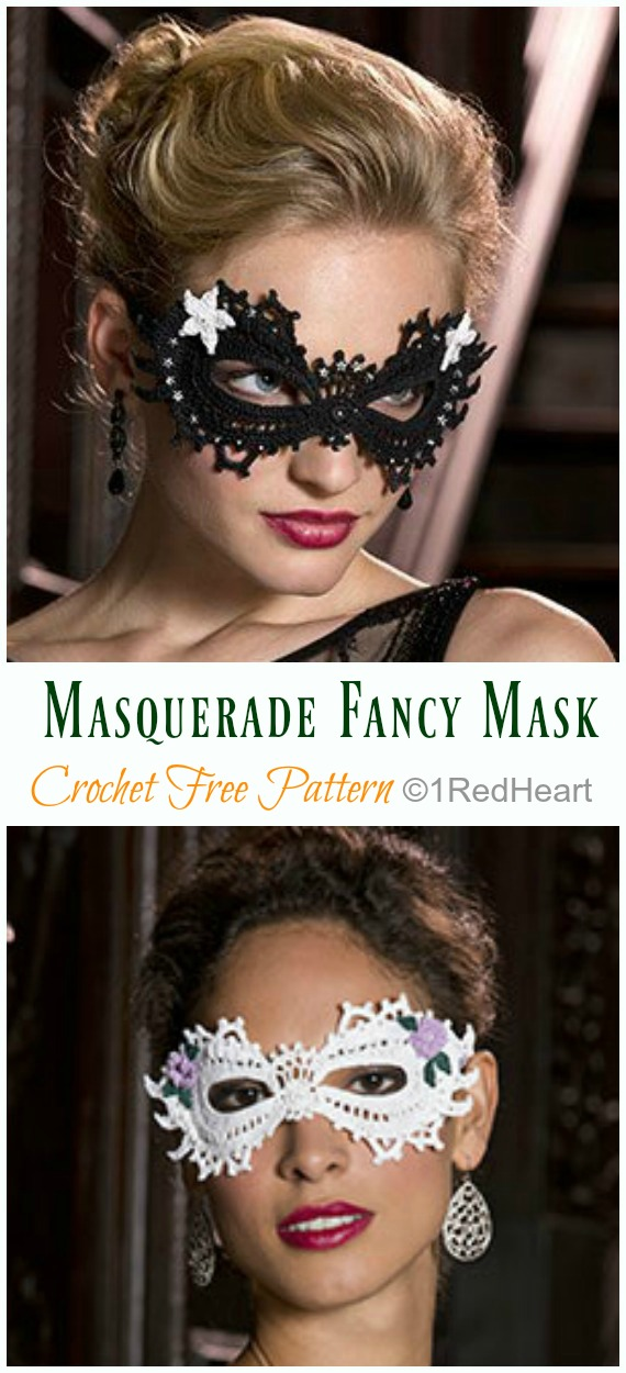 Mardi Gras Masquerade Fancy Mask Crochet Free Pattern - Masquerade Eye #Mask; Free #Crochet; Patterns
