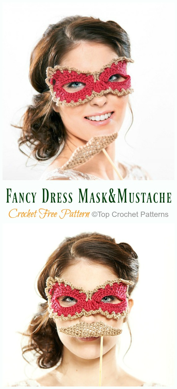 Fancy Dress Mask and Mustache Crochet Free Pattern - Masquerade Eye #Mask; Free #Crochet; Patterns