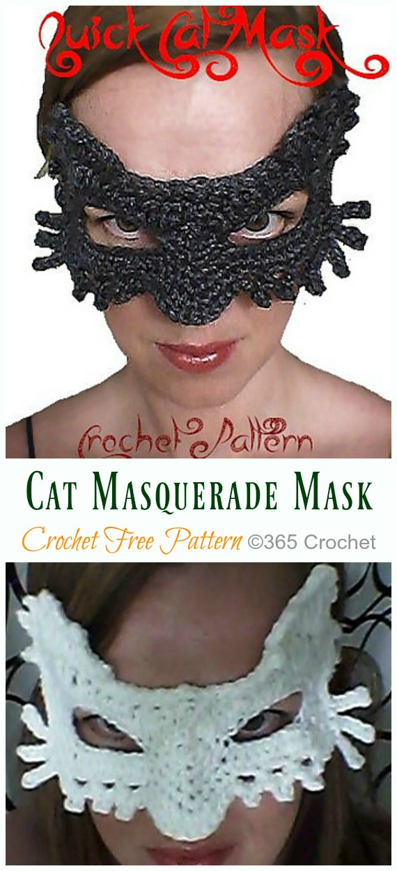 Quick Cat Masquerade Mask Crochet Free Pattern - Masquerade Eye #Mask; Free #Crochet; Patterns