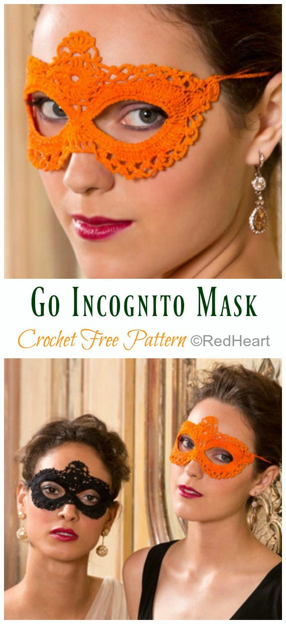 Go Incognito Masks Crochet Free Pattern - Masquerade Eye #Mask; Free #Crochet; Patterns