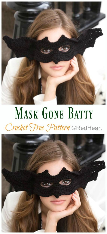 Mask Gone Batty Crochet Free Pattern - Masquerade Eye #Mask; Free #Crochet; Patterns