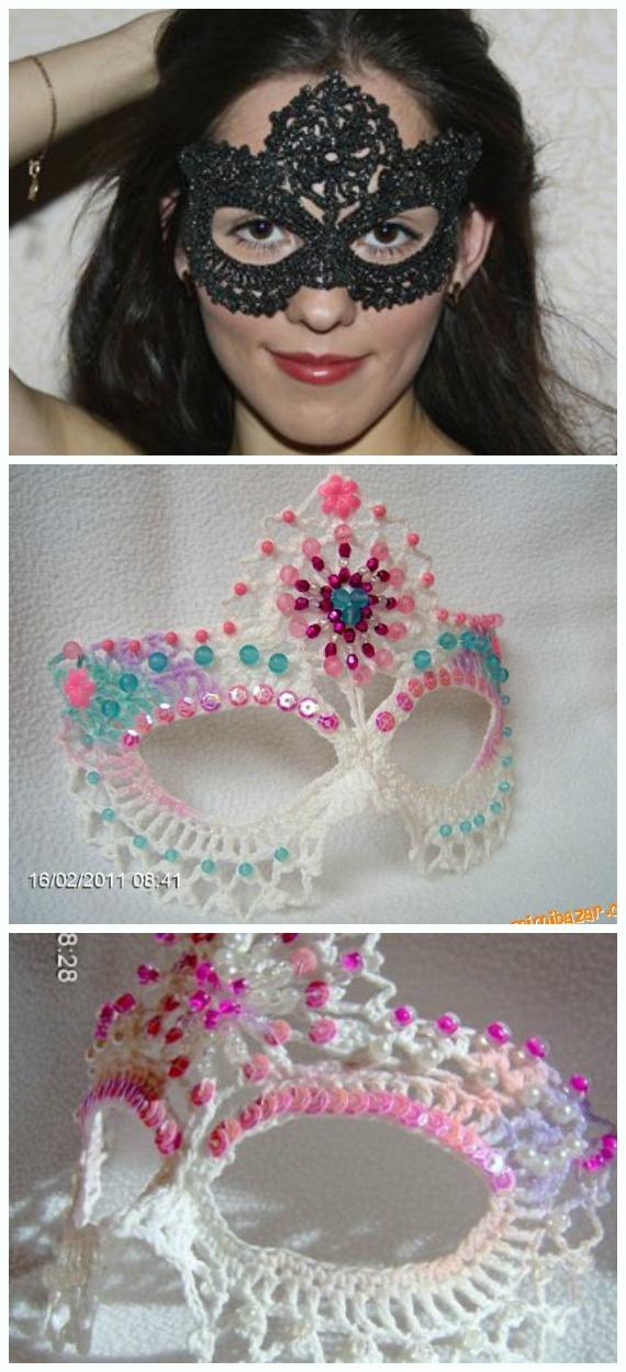 Bead Lace Masquerade Mask Crochet Free Chart - Masquerade Eye #Mask; Free #Crochet; Patterns