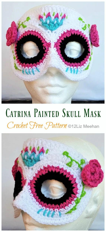 Catrina Painted Skull Mask Crochet Free Pattern - Masquerade Eye #Mask; Free #Crochet; Patterns
