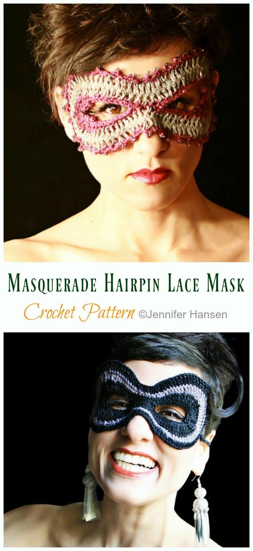 Masquerade Hairpin Lace Mask Crochet Pattern - Masquerade Eye #Mask;  #Crochet; Patterns