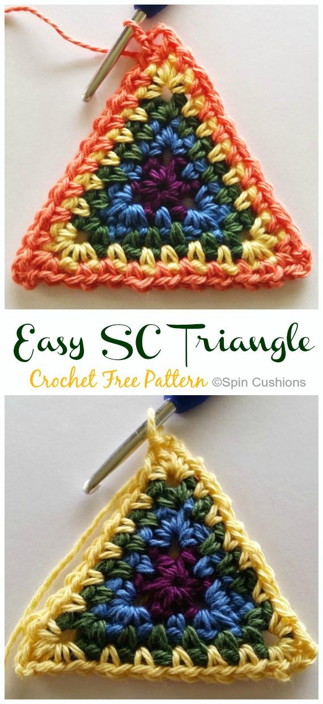 Easy SC Triangle Crochet Free Pattern - #Triangle; Motif Free #Crochet; Patterns