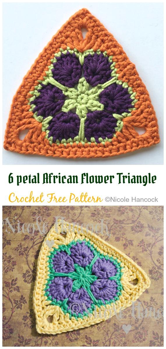 6 petal African Flower Triangle Crochet Free Pattern - #Triangle; Motif Free #Crochet; Patterns