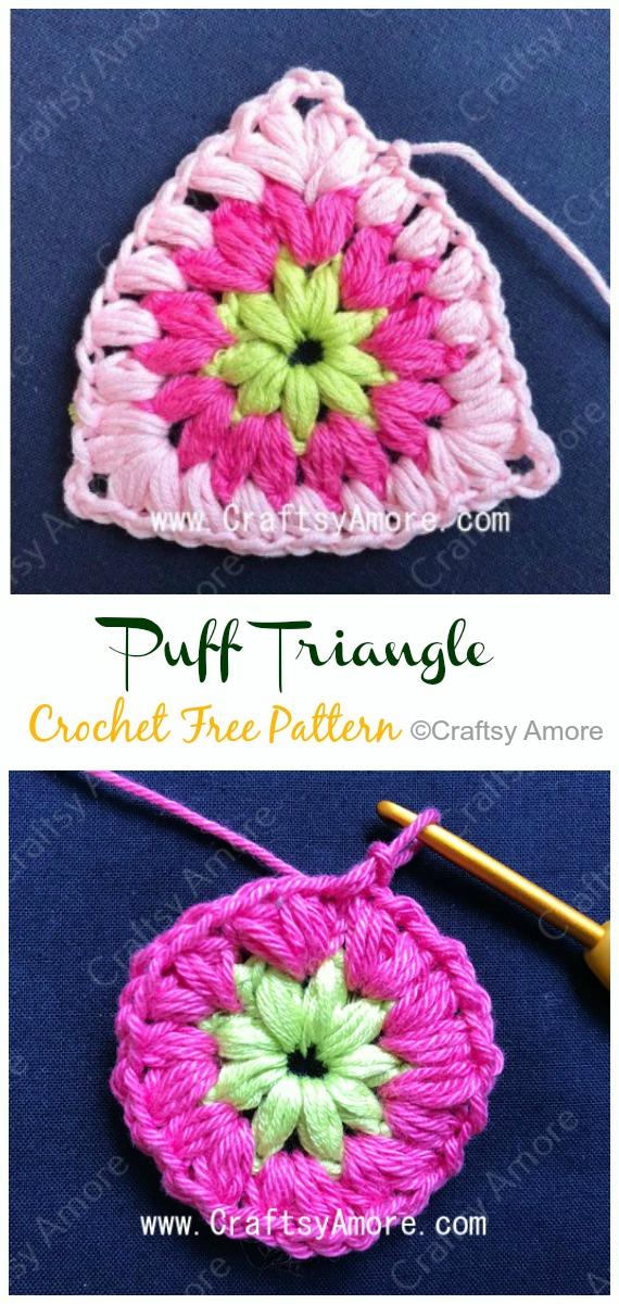 Puff Triangle Crochet Free Pattern - #Triangle; Motif Free #Crochet; Patterns