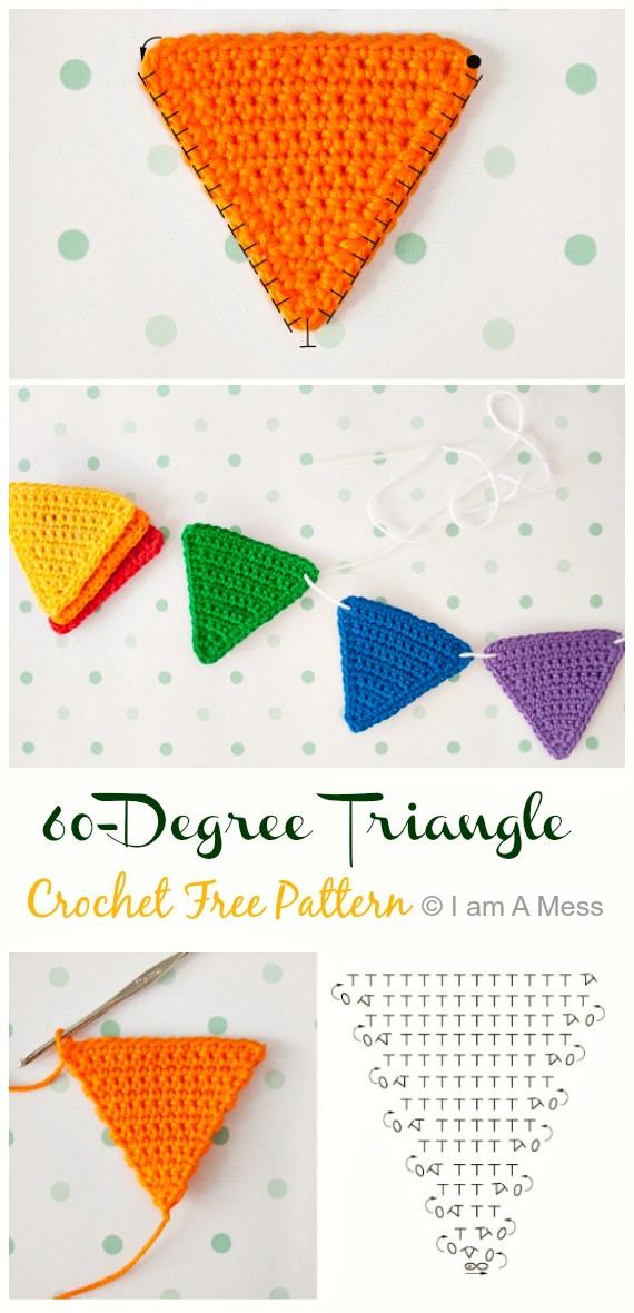 60-Degree Triangle Crochet Free Pattern - #Triangle; Motif Free #Crochet; Patterns