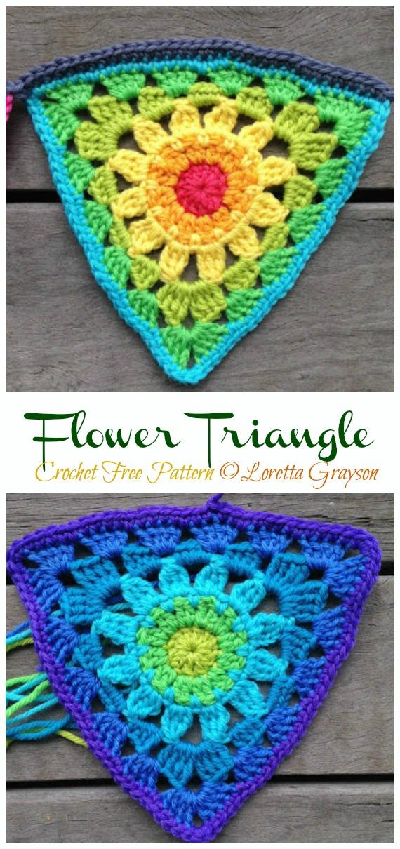 Rett's Flower Triangle Crochet Free Pattern - #Triangle; Motif Free #Crochet; Patterns