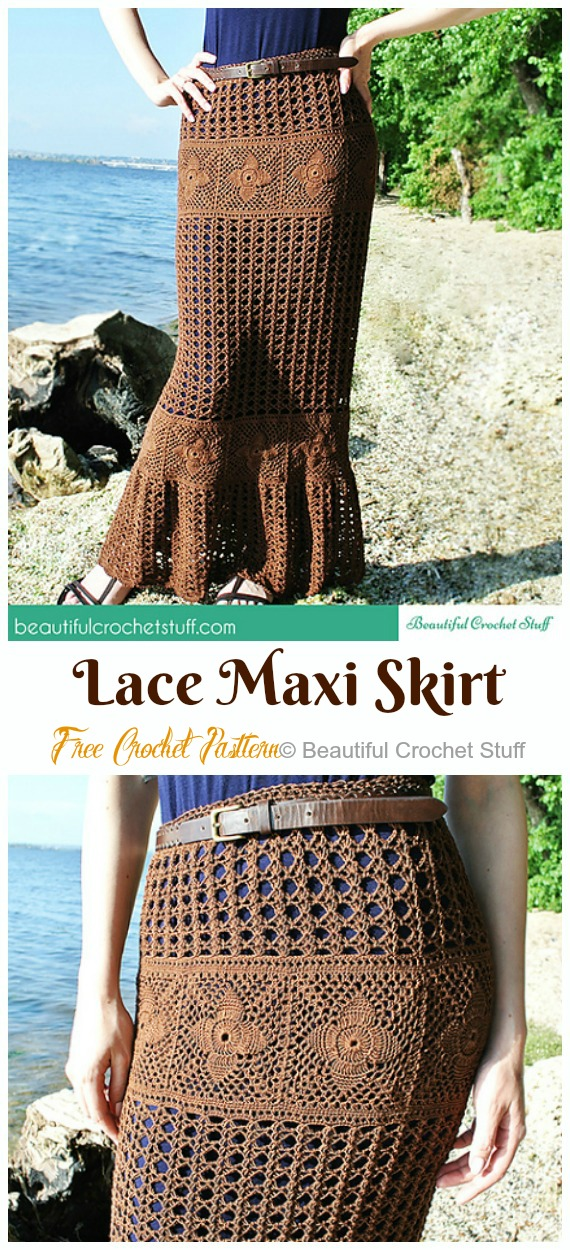 Lace Maxi Skirt Crochet Free Pattern - #Crochet; Women #Skirt; Free Patterns For Any Season
