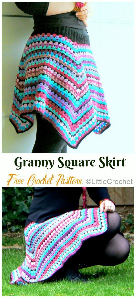 Granny Square Skirt Crochet Free Pattern - #Crochet; Women #Skirt; Free Patterns For Any Season