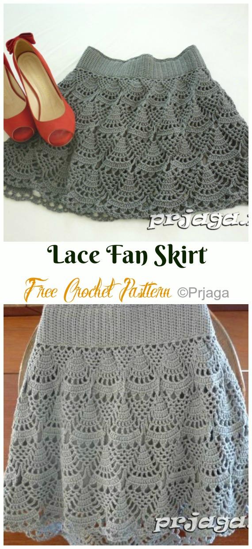 Short Lace Fan Skirt Crochet Free Pattern - #Crochet; Women #Skirt; Free Patterns For Any Season