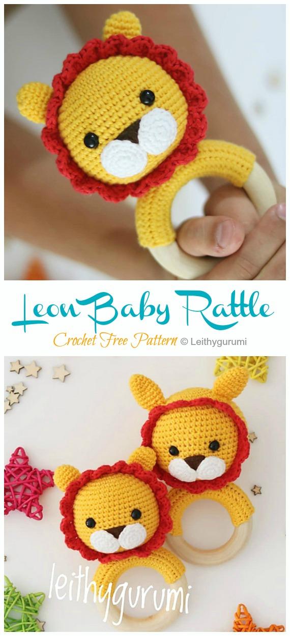 Leon Baby Rattle Crochet Free Pattern - Baby #Rattle; Free #Crochet; Patterns