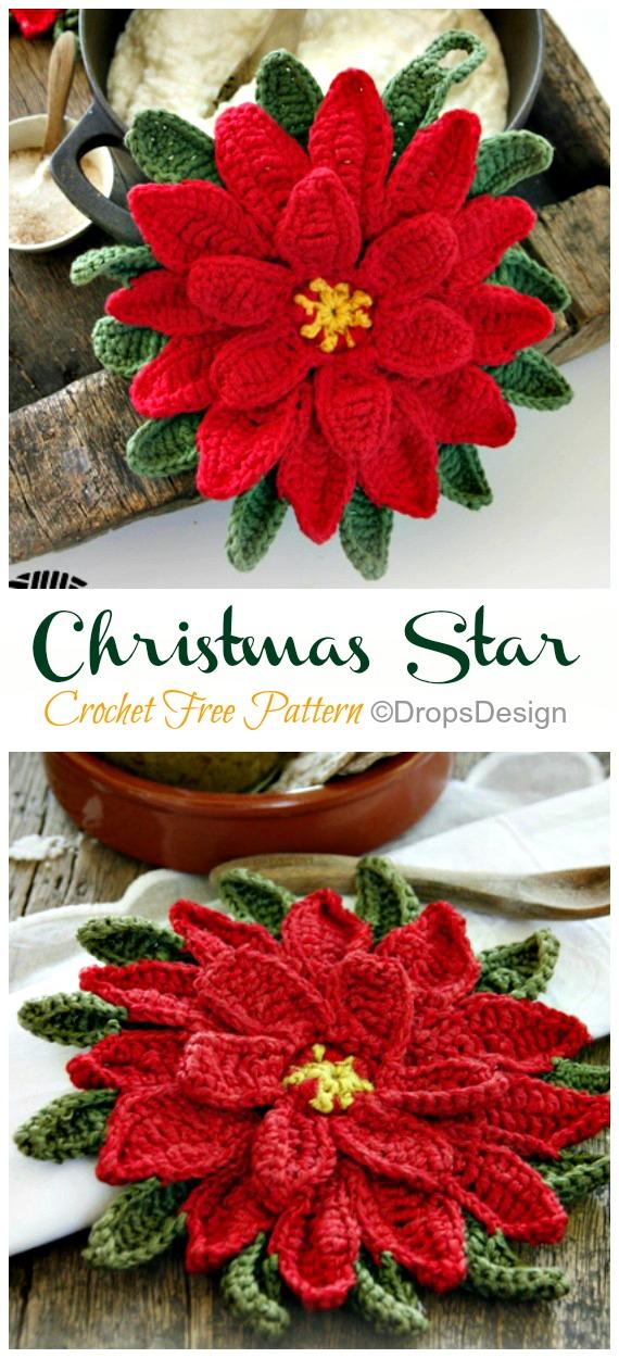 Crochet Christmas Star Poinsettia Pot Holder Free Patterns - Crochet #Poinsettia; #Christmas; Flower Free Patterns