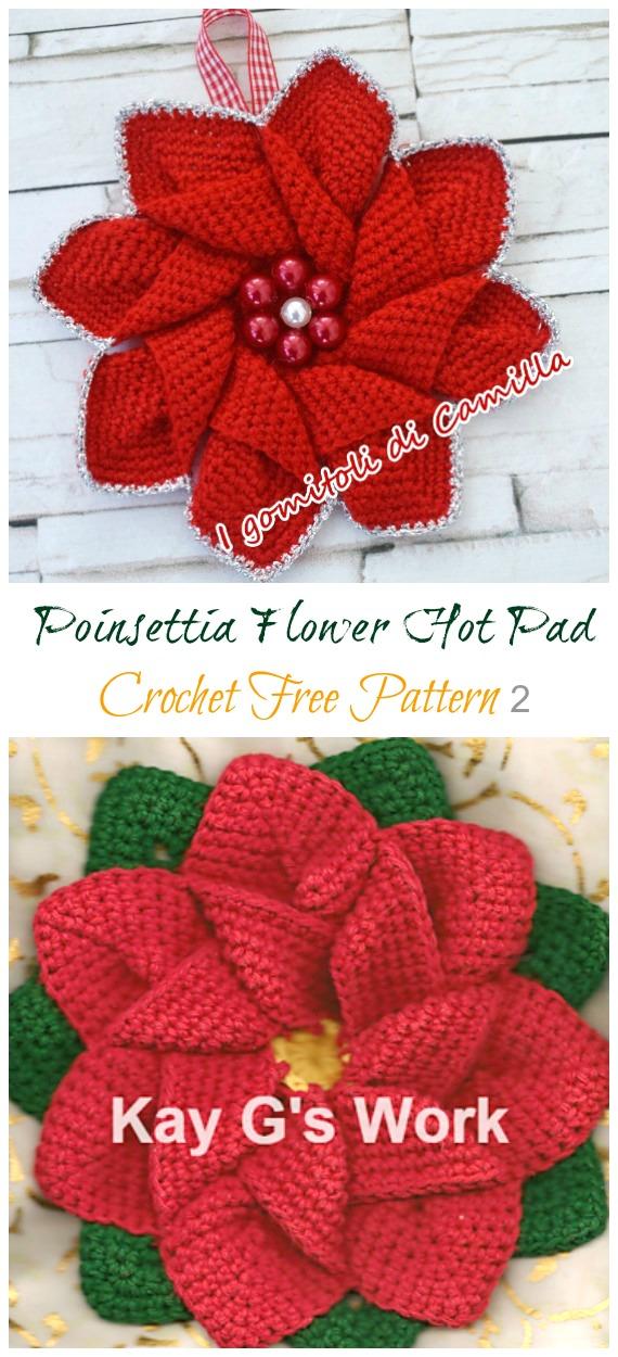 Crochet Poinsettia Flower Hot Pad Free Patterns - Crochet #Poinsettia; #Christmas; Flower Free Patterns