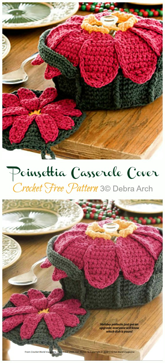Crochet Poinsettia Casserole Cover and Potholder Free Pattern - Crochet #Poinsettia; #Christmas; Flower Free Patterns