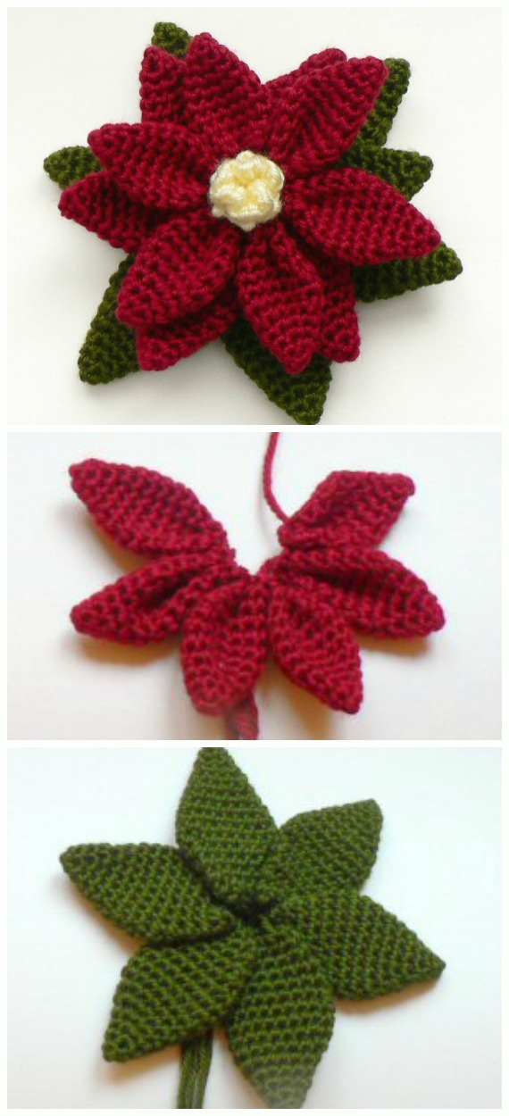 Crochet Poinsettia Flower Free Patterns - Crochet #Poinsettia; #Christmas; Flower Free Patterns