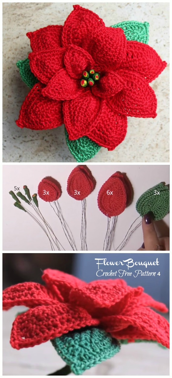 CrochetPoinsettia Flower Bouquet Free Patterns - Crochet #Poinsettia; #Christmas; Flower Free Patterns
