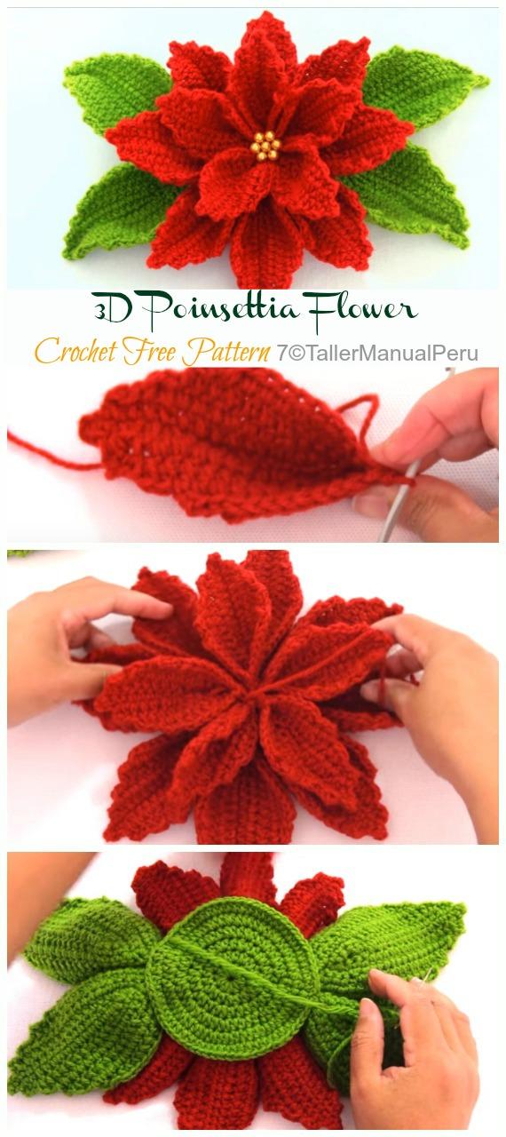 3D Poinsettia Flower Crochet Free Patterns Video - Crochet #Poinsettia; #Christmas; Flower Free Patterns