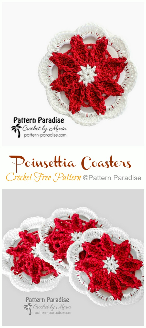 Poinsettia Coasters Crochet Free Patterns - Crochet #Poinsettia; #Christmas; Flower Free Patterns
