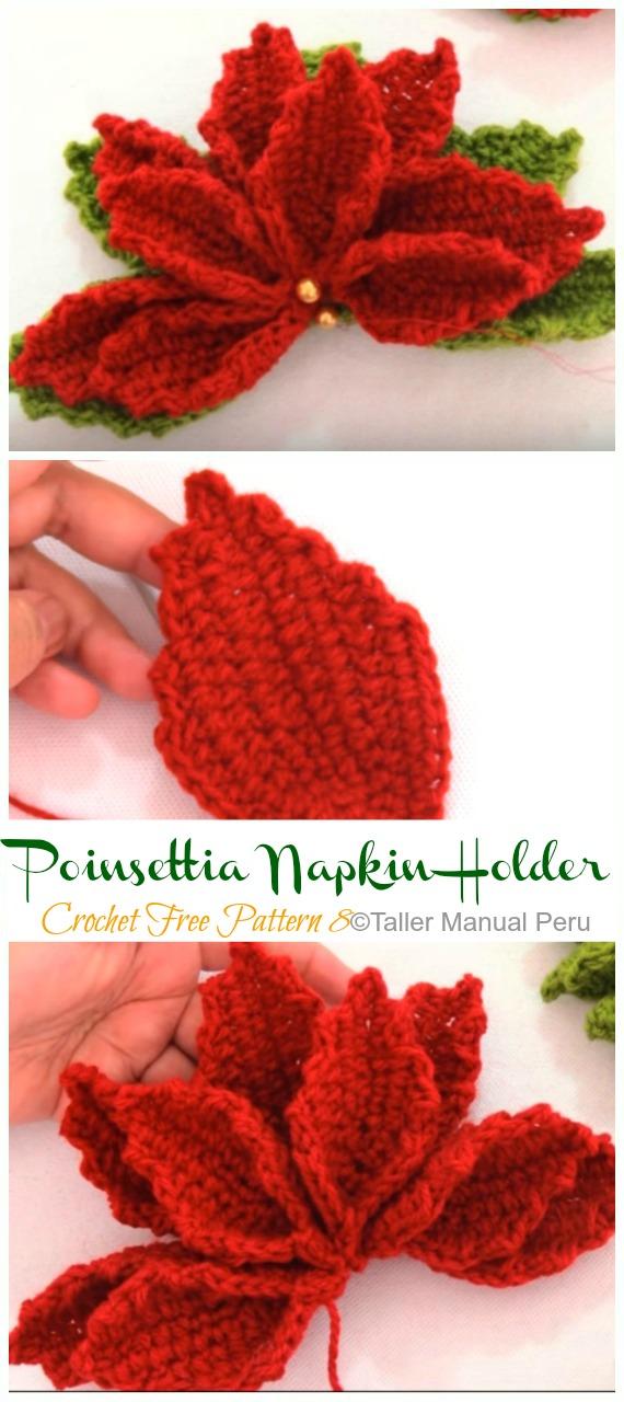 3D Poinsettia Flower Napkin Holder Crochet Free Patterns Video - Crochet #Poinsettia; #Christmas; Flower Free Patterns