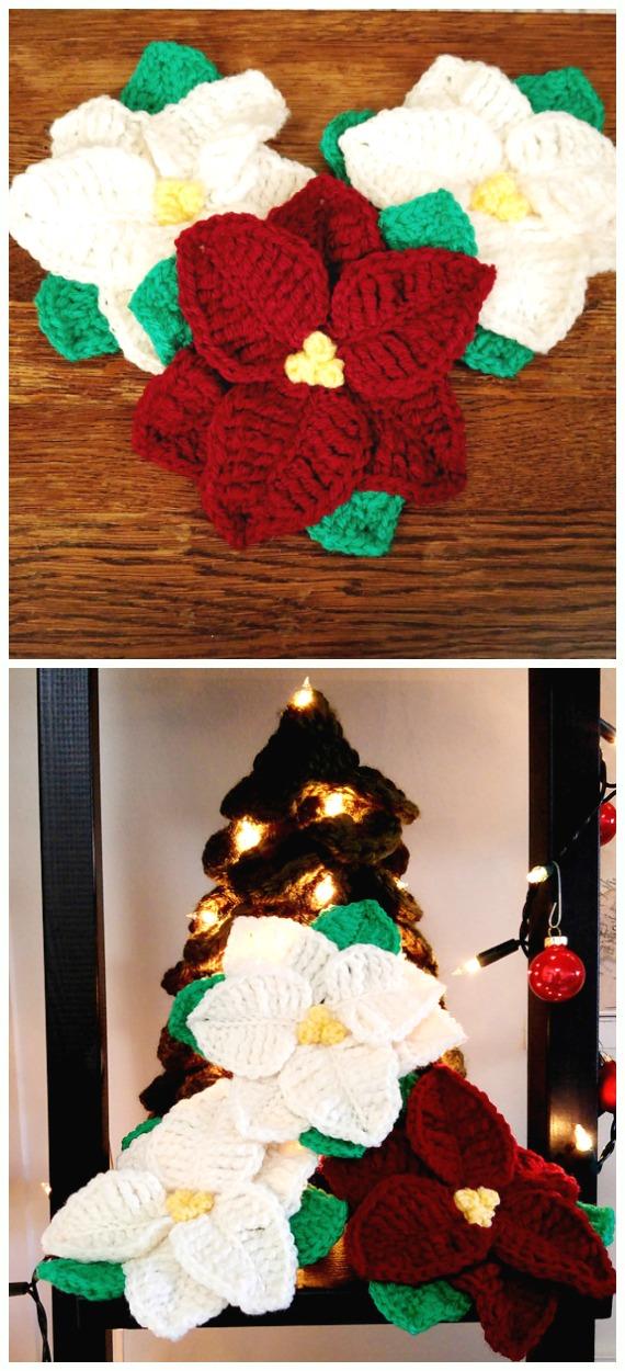 CrochetPoinsettia Christmas flower Free Pattern - Crochet #Poinsettia; #Christmas; Flower Free Patterns