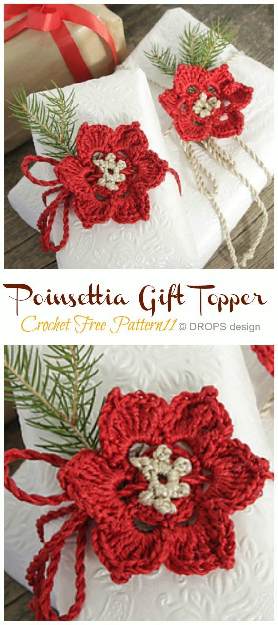 Poinsettia Gift Wrap Topper Crochet Free Pattern - Crochet #Poinsettia; #Christmas; Flower Free Patterns