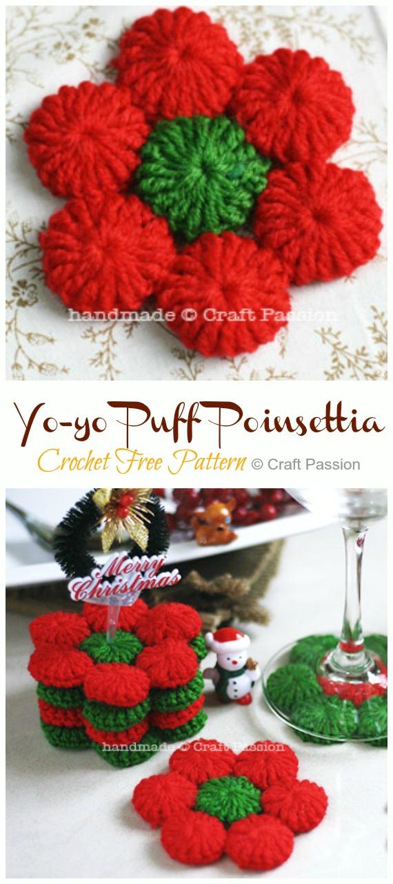 Yo-yo Puff Poinsettia Coasters Crochet Free Patterns - Crochet #Poinsettia; #Christmas; Flower Free Patterns