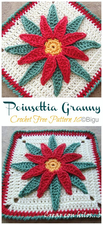Poinsettia Granny Crochet Free Patterns - Crochet #Poinsettia; #Christmas; Flower Free Patterns