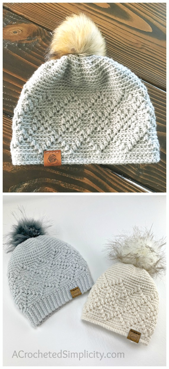 Argyle Slouch Beanie Hat Crochet Free Pattern - Women #Slouchy; Beanie Hat Free #Crochet; Patterns