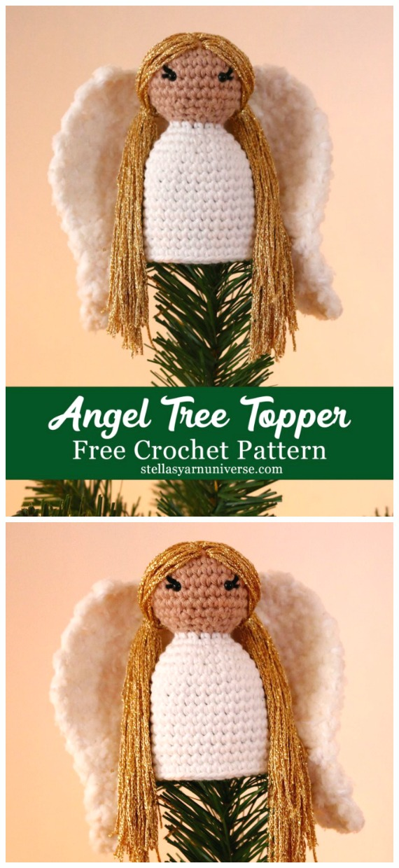 Angel Tree Topper Christmas Ornament Free Pattern - Crochet Angel Free Patterns