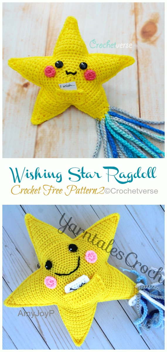 Wishing Star Ragdoll Crochet Free Pattern -Amigurumi #Star; Plush Free #Crochet; Patterns