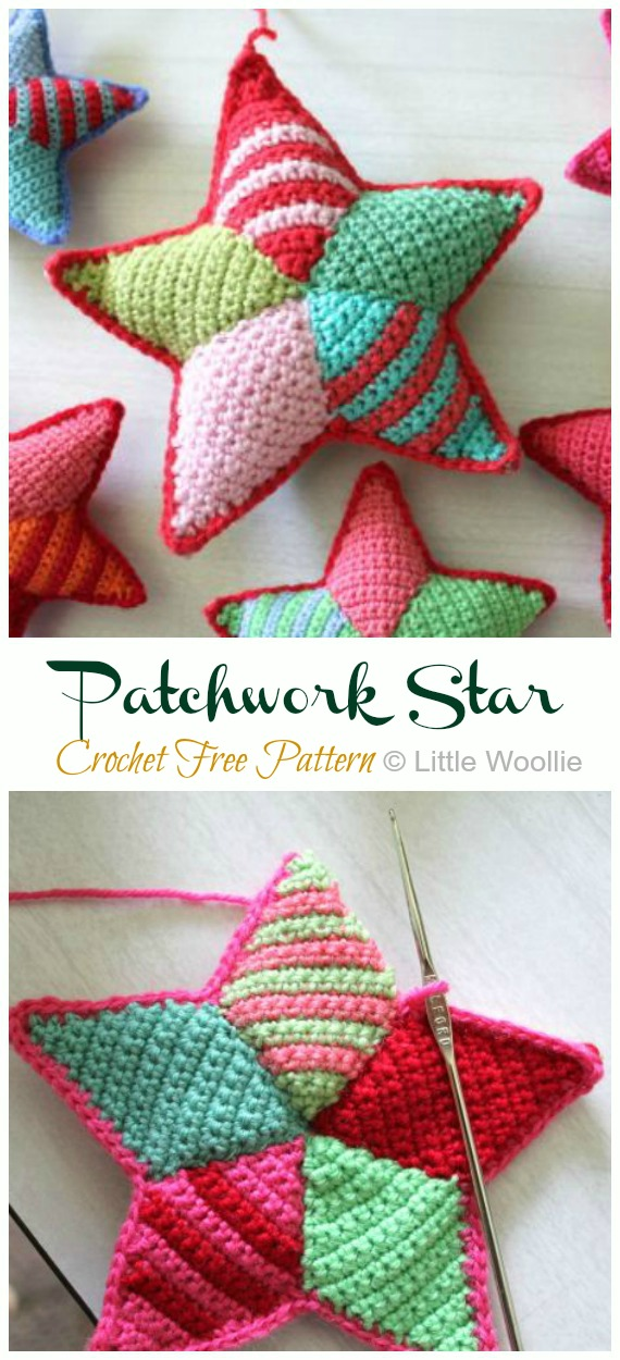 Patchwork Star Crochet Free Pattern -Amigurumi #Star; Plush Free #Crochet; Patterns