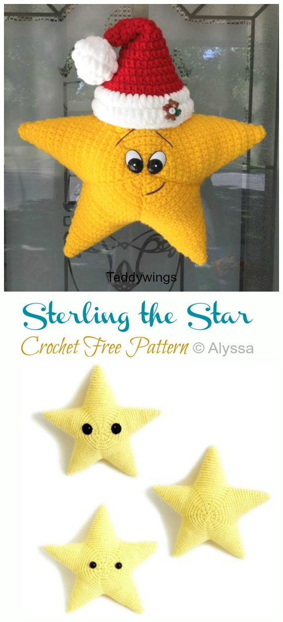 Sterling the Star Crochet Free Pattern -Amigurumi #Star; Plush Free #Crochet; Patterns