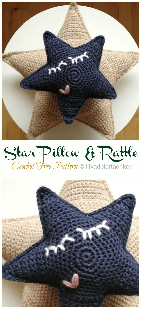 Star Pillow & Rattle Crochet Free Pattern -Amigurumi #Star; Plush Free #Crochet; Patterns