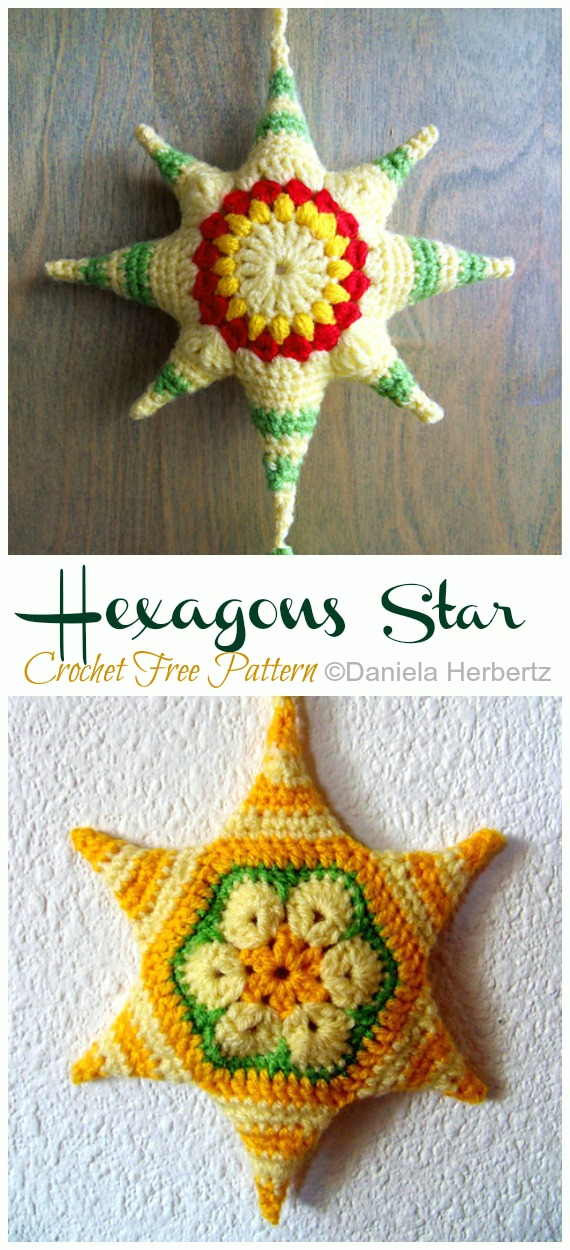 Hexagon Stars Crochet Free Pattern -Amigurumi #Star; Plush Free #Crochet; Patterns