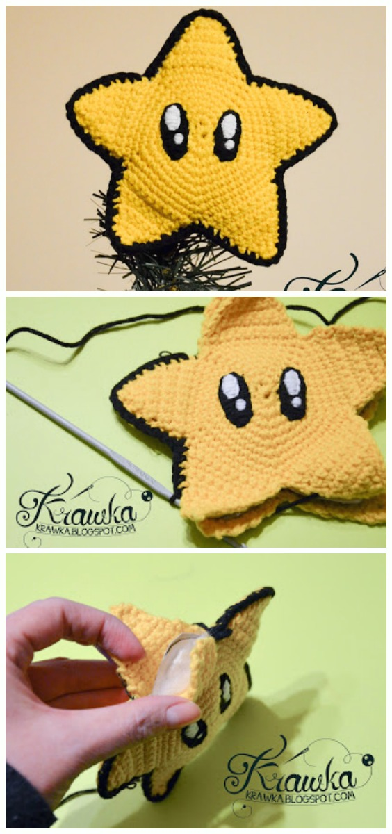 Mario Star Christmas Tree Topper Crochet Free Pattern -Amigurumi #Star; Plush Free #Crochet; Patterns