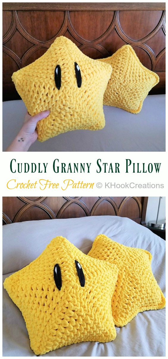 Cuddly Granny Star Pillow Crochet Free Pattern -Amigurumi #Star; Plush Free #Crochet; Patterns
