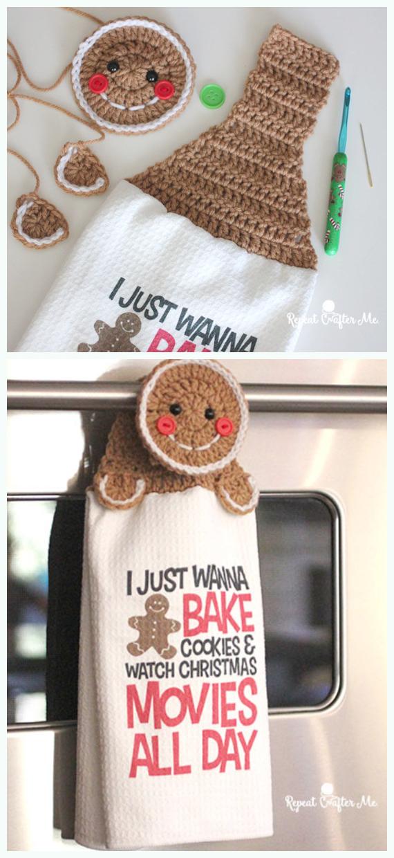 Gingerbread Towel Topper Crochet Free Pattern - #Christmas; #Towel; Topper #Crochet Patterns