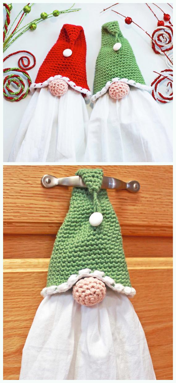 Gnome Towel Topper Crochet Free Pattern - #Christmas; #Towel; Topper #Crochet Patterns