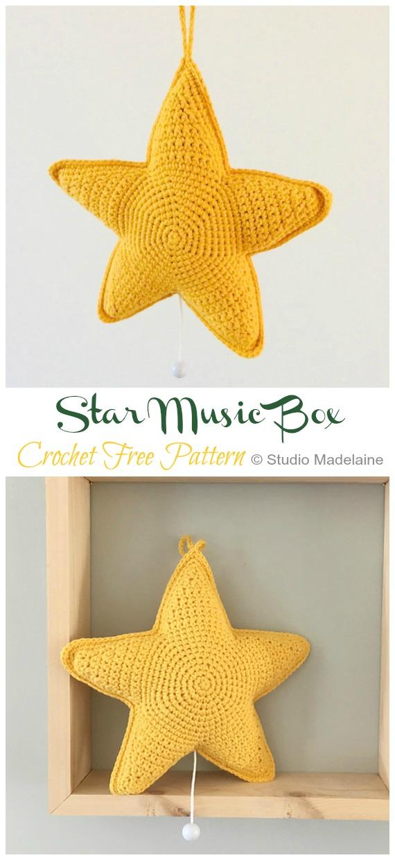 Star Music Box Crochet Free Pattern - Amigurumi #Star; Plush Free #Crochet; Patterns