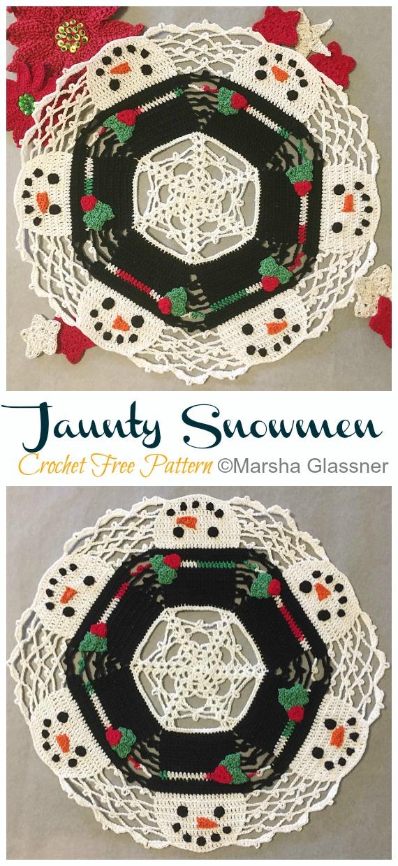 Jaunty Snowmen Doily Free Crochet Pattern - #Christmas; #Doily; Crochet Free Patterns