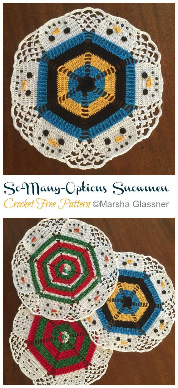 So-Many-Options Snowmen Doily Free Crochet Pattern - #Christmas; #Doily; Crochet Free Patterns